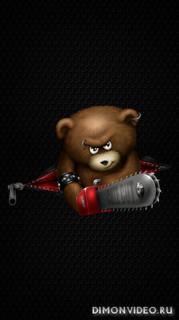 Bear with a saw 1080x1920, 1080x2160, 1080x2220, 1080x2340, 1080x2400
