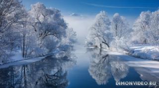sneg-reka-derevia-otrazhenie-bavariia