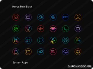 Horux Pixel Black - Icon Pack