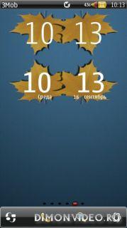 Gold Autumn Skins for DigitalClock, Big Clock Widget 8х3